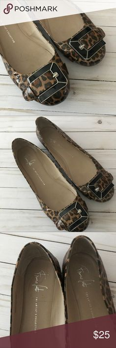 Franco Sarto Jackson Flat Franco Sarto - The Artist Collection! Jackson flat, sold out online. Great condition, biggest flaw is a piece missing on sole (pictured) beautiful leopard print! Size 12! Franco Sarto Shoes Flats & Loafers