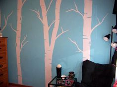 Painted Birch Trees: Draw on wall with chalk. Then, paint freehand.
