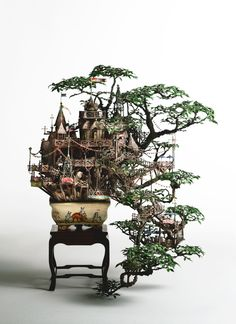 An artistic representation of life on a bonsai tree. Great vision and artistic way of looking at things - a definite Muse.