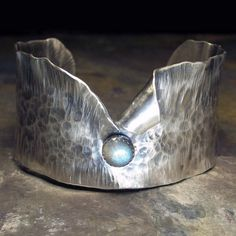 Galadriel's Dream -sterling silver wide cuff with labradorite stone ....from LavenderCottage on Etsy