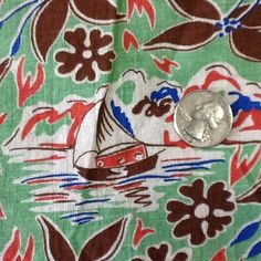 Vintage Tropical Feedsack Cotton Quilt Fabric Sailboats