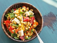 Celebrate the end of summer with this corn, tomato, feta, and herb salad. Delicious with a light Rose.