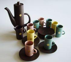 Vintage Ceramic Espresso Set Mid Century Swedish Syco Keramik Demitasse Set Espresso Shots 21 Piece Set by Vintagerous on Etsy