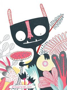 Monster with Flowers by Elise Gravel Monster Illustration, Children's Book Illustration, Elise Gravel, Zentangle, Illustration Mignonne, For Elise, Cute Monsters, Monster Art, Art Plastique