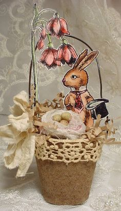 Easter peat pot with bunny cut out