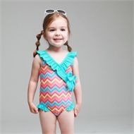 Stylish geometric print swim suit with lovely Frill detail and big bow at side line is simply not to be missed this summer!