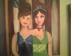 """Siamese twins. Second in my carnival/freakshow series. acrylic 8""""x10"""""""