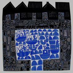 Title:  Harbour .    Artist:  Hilke MacIntyre .    Medium:   original linocut, edition of 25 .     Size:  paper: 60 x 60 cm