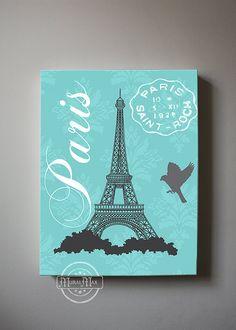 Eiffel Tower Canvas Art Paris Bedroom Decor, Girls Room Decor, Teen or Girl Nursery Decor ,Aqua and Gray Decor