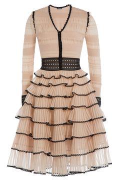 ALEXANDER MCQUEEN Knitted Dress With Tiered Skirt. #alexandermcqueen #cloth #dresses