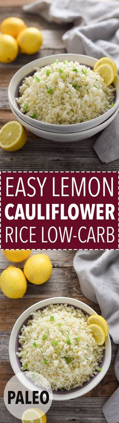 Low-carb lemon cauliflower rice is a healthy dinner side!