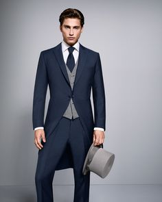 Navy Tail Suit available to hire or buy. This lightweight slimline tail suit is perfect for weddings