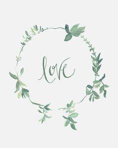 Love - Sage Green Wreath - 8 x 10 - Calligraphy Art Print