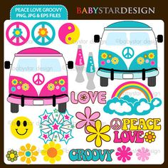 Peace Love Groovy INSTANT DOWNLOAD by babystardesign on Etsy, $5.95