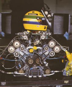 Ayrton Senna engine and helmet