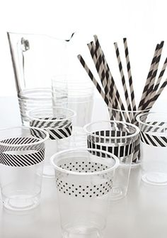 black and white party decor, washi tape, paper straws