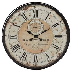 make out of 5 gal bucket lid or 35 gal oil drum lid / end Add vintaged appeal to your home library or living room with this antique-inspired wall clock, showcasing Roman numerals and a distressed face.