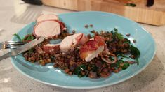 Bacon wrapped chicken breast with lentils
