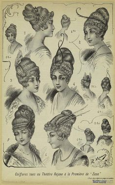 """Coiffures vues au théâtre réjane à la première de """"Zaza."""" (1914)"""