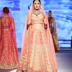 Bridal wear in sunset colors at @tarun_tahiliani at #ibfw2015 #ibfw