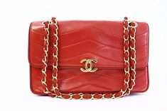 c477063bd6b851 Vintage Chanel red flap handbag at Rice and Beans Vintage Vintage Chanel Bag,  One Bag
