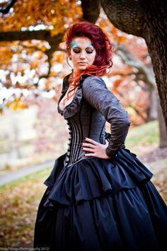 Alternative Wedding Gown Steampunk Corset Jacket Dress- Custom to Order. $1,095.00, via Etsy.
