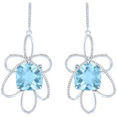 Women's Silver Earring by Arya Esha Cushion Cut Blue Topaz and Diamond... ($2,185) ❤ liked on Polyvore featuring jewelry, earrings, blue, diamond jewellery, earrings jewelry, blue topaz jewelry, blue diamond jewelry and blue topaz silver earrings
