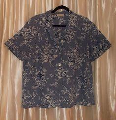 Blue floral short sleeve blouse shirt, cotton Large to XL, Jones New York #JonesNewYork #ButtonDownShirt #Casual