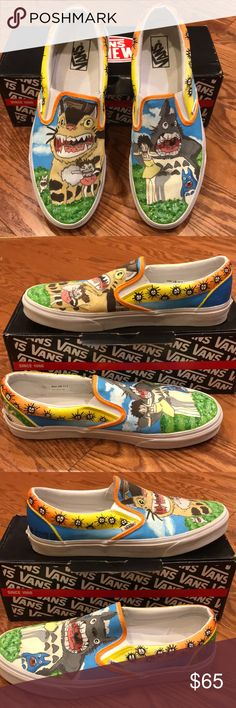 Vans Hand painted canvas shoes Vans Hand painted canvas shoes. Size 11.5. These are unique very well hand painted vans. One of a kind. Preowned in great condition some wear on the white parts of the rubber. Vans Shoes Loafers & Slip-Ons