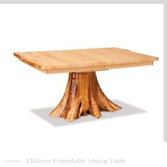 Create instant intrigue in your dining area with the Elkhorn Extendable Stump Table, featuring a tree stump base. Log Table, Stump Table, Rustic Table, Wooden Tables, Dining Table, Dining Area, Amish Furniture, Rustic Furniture, Furniture Ideas