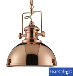 Searchlight Industrial Look 1 Light Metal Pendant Ceiling Fixture, Copper - 2297CO None