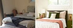 Before and After : Bedroom Makeover with Moss and Coral Accents