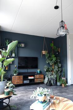Living Room Plants, Living Room Lounge, Home Living Room, Living Room Decor, Dark Blue Feature Wall, Dark Blue Rooms, Home Suites, Home Decor Styles, Home Decor Inspiration