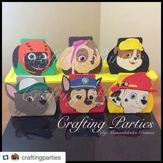 #mulpix Paw Patrol goodie bags. Bags are made out of craft foam. Character faces are 100% handmade & handcut out of craft foam as well. Other Paw Patrol characters can also be made. For ordering information: ️DM Text: (619) 273-2845  Email: diannacraftingparties(at)yahoo.com #pawpatrol #pawpatrolparty #goodiebags #favorbags #treatbags #craftfoam #craftingparties #handmade #handcut