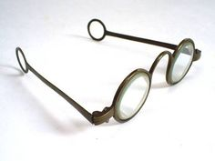 RARE ANTIQUE EARLY GEORGIAN EDWARD SCARLETT TYPE BRASS TEMPLE SPECTACLES/GLASSES