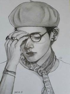 Kpop Drawings, Art Drawings Sketches Simple, Pencil Art Drawings, Realistic Drawings, Taehyung Fanart, Anime Character Drawing, Bts Chibi, Kpop Fanart, Bts Pictures