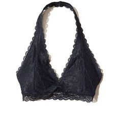 Hollister Lace Halter Bralette With Removable Pads ($17) ❤ liked on Polyvore featuring intimates, bras, navy, underwire free bras, thin bra, no wire bra, padded bra and lace halter top