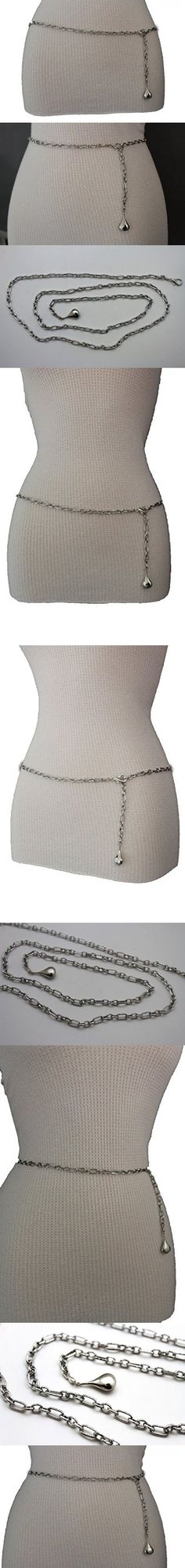 981ee565cc TFJ Women Fashion Belt Hip High Waist Silver Metal Chain Links Plus Size M  L XL