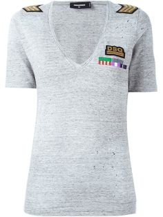Dsquared2 military patch v-neck T-shirt