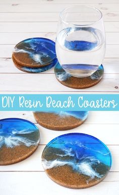 DIY Resin Beach Coasters. These beach inspired coasters are a great addition to any beach themed room and also make great gifts. Personalize by using sand from your favorite beaches. Great diy mold project ideas for beginners. #resincrafts #resinprojects #diycoasters #envirotexlite #crafty @resincraftsblog