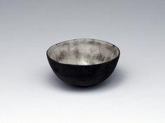 Small black ringed pinch pot by Karen Banks.