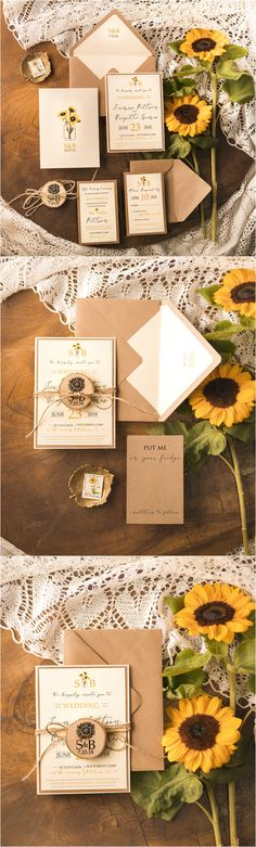 Rustic country kraft paper sunflower wedding invitations #rusticwedding #countrywedding #sunflower