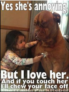 Just like my dog.  Very intimidating but loves and would do anything for my kids!!! But you BETTER not touch them or their momma!