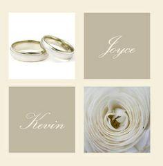 Trouwkaart: Twee ringen met witte roos en namen. Trouwkaarten online maken en bestellen. Prachtige trouwkaarten met ringen: kies een trouwkaart, schrijf de tekst, en vraag een gratis proefdruk op! http://www.trouwpost.nl/trouwkaarten/ringen/