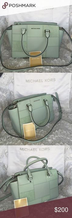 """% Authentic Micheal Kors handbag. MICHAEL Michael Kors Selma Medium Tile Patchwork Satchel Bag, Celadon Details MICHAEL Michael Kors structured satchel bag in tiled patchwork of saffiano leather. Tote handles with rings; 5\"""" drop. Removable, adjustable crossbody strap, 20. 5\"""" drop. Recessed zip top. Inside, monogram lining; one zip and two open pockets; key leash. 8. 1\""""H x 12\""""W x 5. 5\""""D. \""""Selma\"""" is imported. Designer About Michael Kors: Famous for producing polished, sleek…"""