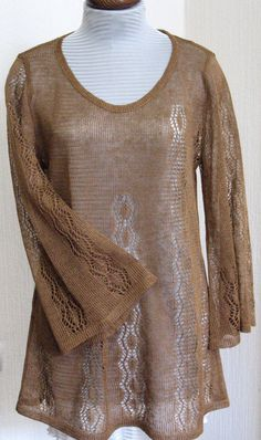 Linen Top Tunic Sweater Clothing Brown knitted and by Initasworks, $89.00