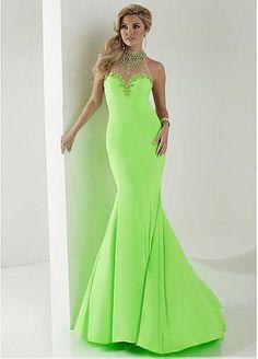 Chic Tulle & Chiffon Illusion High Mermaid Prom Dresses With Beads & Rhinestones