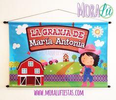 Para decorar la mesa principal o darle la bienvenida a todos, un pendón es ideal y más si está personalizado para tu fiesta Toy Chest, Storage Chest, Toys, Ideas, Home Decor, Farm Party, Homesteads, Creativity, Activity Toys