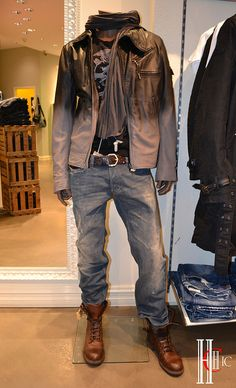jacket leather men disel boots jeans. I would wear different shoes.