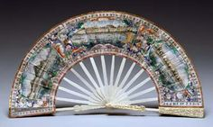 Fan with views of Hong Kong, Macao, and Canton, 1845-65 China Ivory, gouache on paper. Peabody Essex Museum  cwOF_1845-65_E81311_Cities